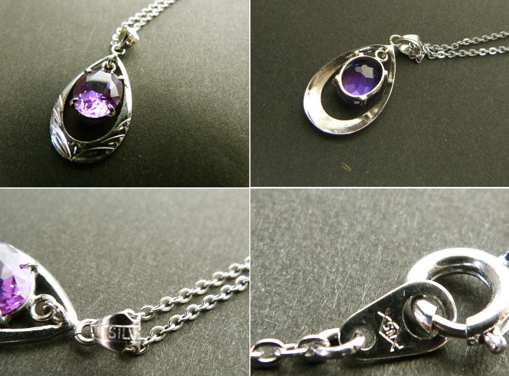 SILVER刻印 紫色ガラスのネックレス/コスチュームジュエリー シルバー【中古】【メール便対応】