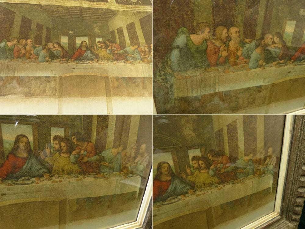 【希少】レオナルド・ダ・ヴィンチ 最後の晩餐 〜 イエスキリスト 宗教 十字架 印刷物 イタリア 画家 西洋 アート 額縁 F6号【中古】【送料無料】