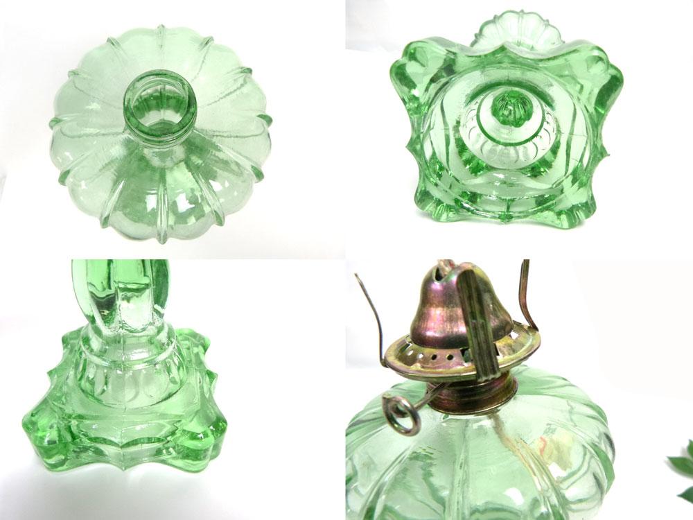 レトロなガラスオイルランプ ビンテージ インテリア雑貨(緑/グリーン)(店舗什器)【中古】