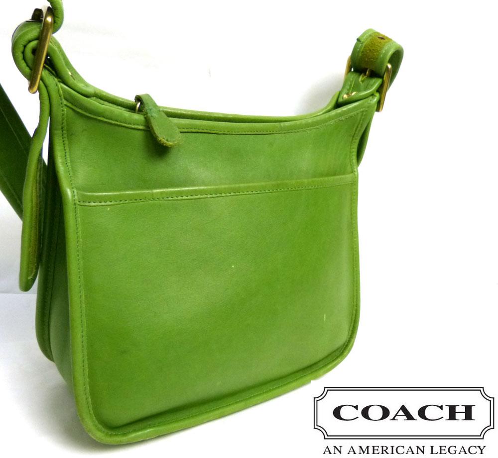 USA製 オールドコーチ/ OLD COACH 本革 ショルダーバッグ (グリーン/緑)【中古】【送料無料】
