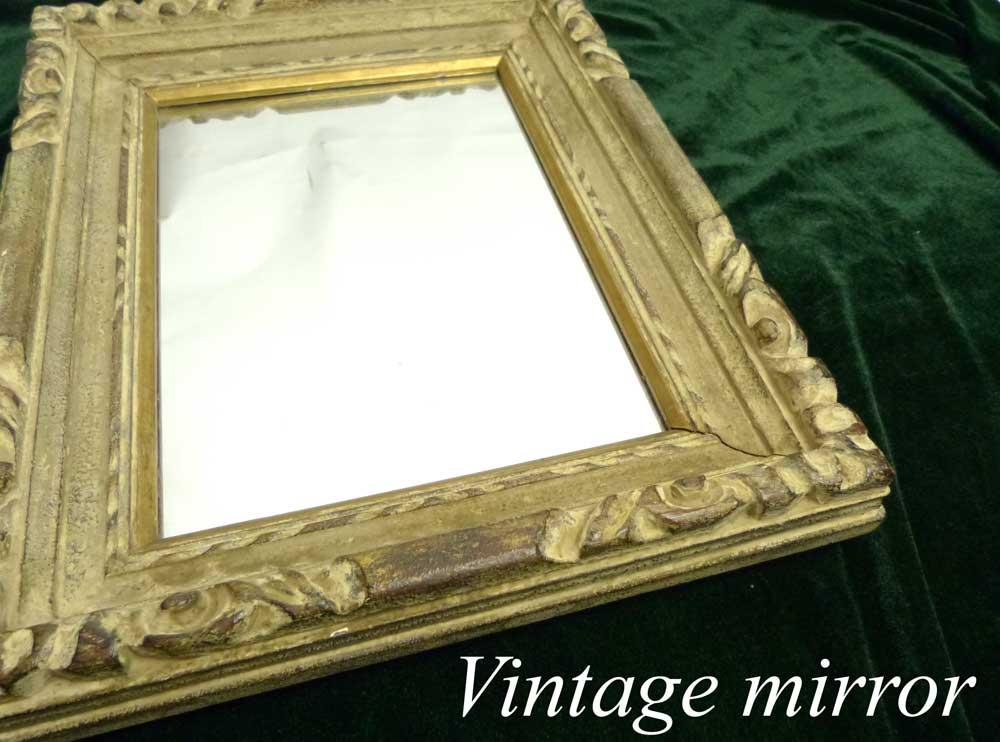 1960-70s ビンテージ オールド シャビーな額縁 木製フレームミラー(ビンテージ) 【中古】