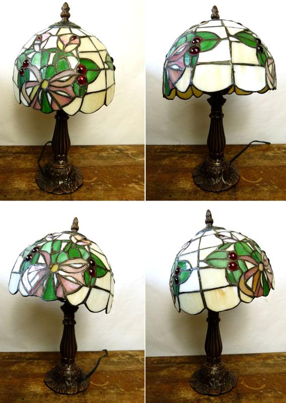 【訳あり】アンティーク風 ステンドグラス 花柄 テーブルランプ 卓上ランプ【中古】