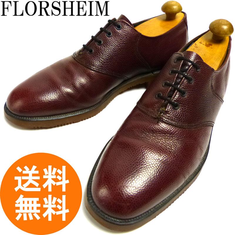 フローシャイム FLORSHEIM プレーントゥシューズ 10C(27.5cm相当)(赤紫/バーガンディ)(メンズ)【中古】