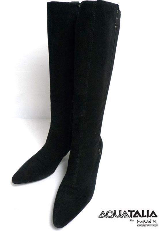 【希少】イタリア製 Aquatalia アクアタリア ニット×スエードレザーロングブーツ 36 1/2(23.5cm相当)(レディース)【中古】