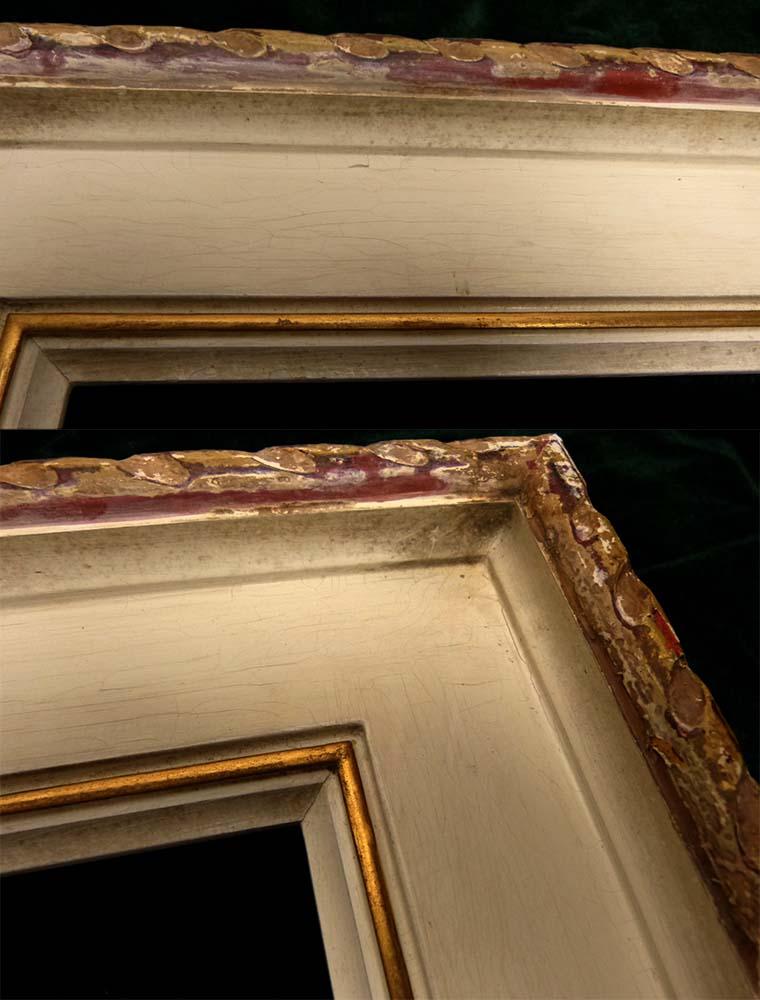 レトロ ヴィンテージ オールド シャビーな額縁 木製フレーム 油絵4号 / F4 (油彩額縁)【中古】