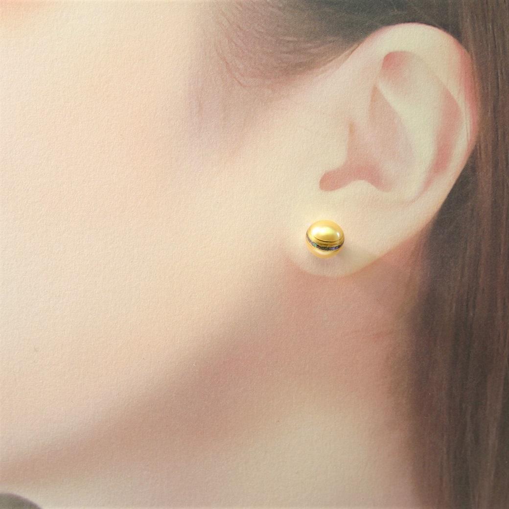 漆ピアス 淡水パール 螺鈿 蒔絵 金箔ライン api00002