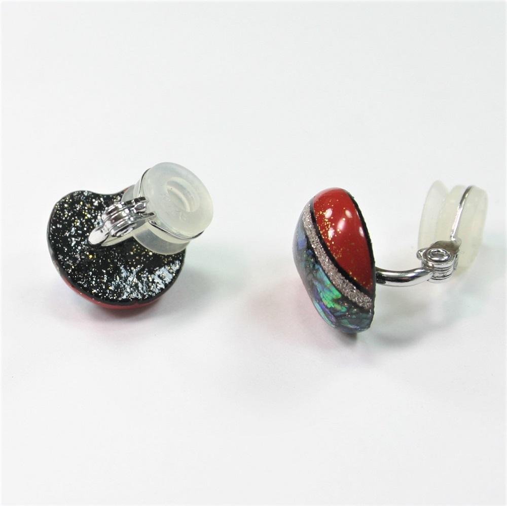 漆イヤリング 朱塗り 螺鈿 金粉・銀粉ライン silver925 aea00002