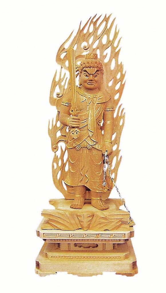 木製 不動明王 白檀 身丈3.5寸〜5.0寸 金泥付