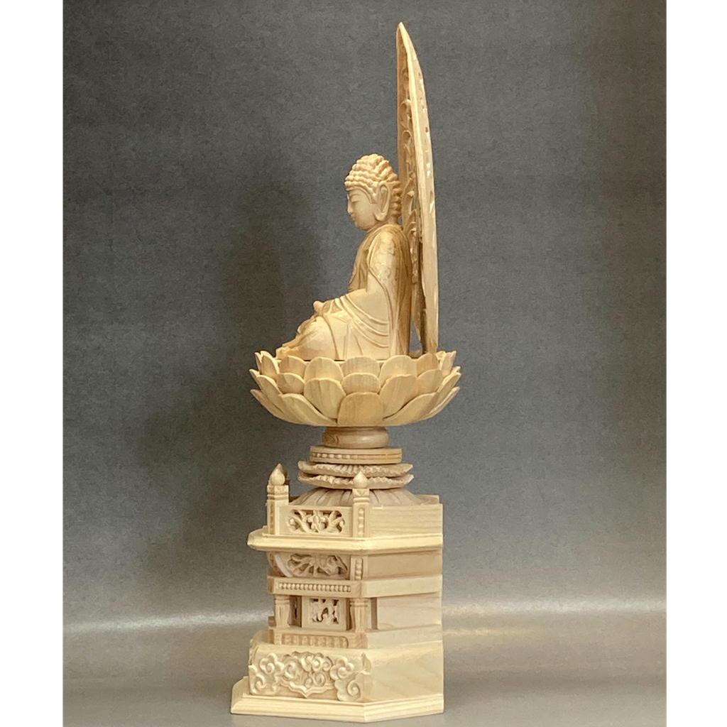 木製 釈迦如来 白木 身丈2.0寸〜3.0寸 金泥付