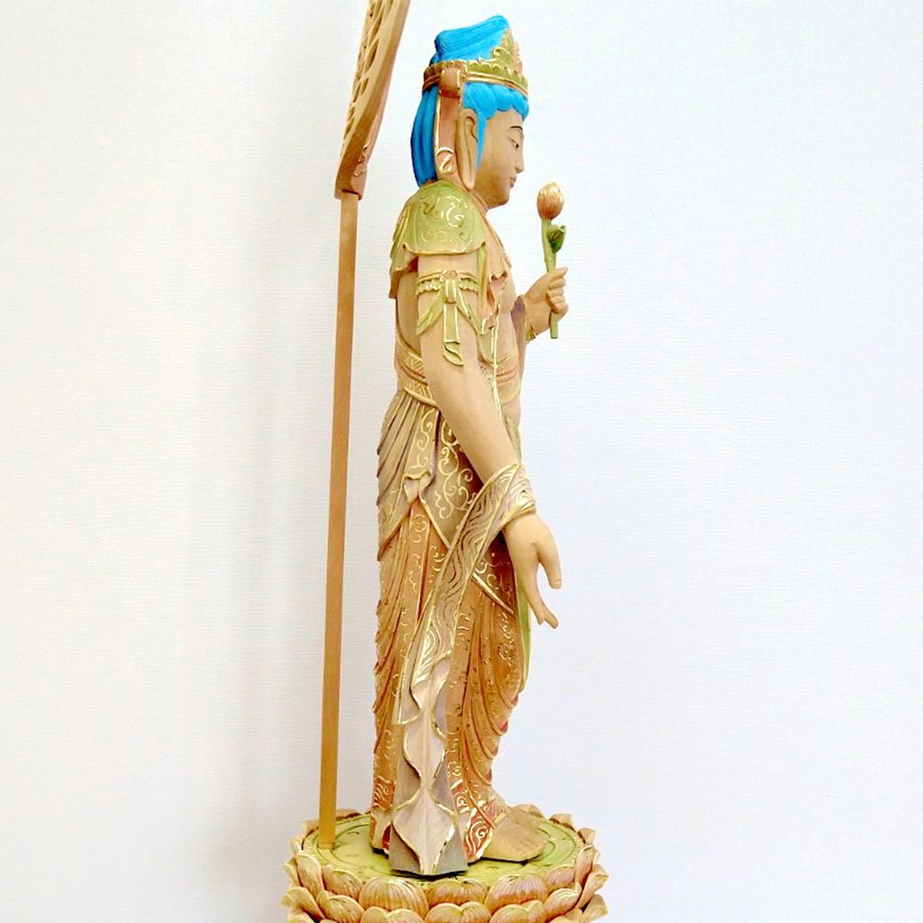 木製 聖観音 淡彩色切金 身丈1尺2寸 宝珠光背