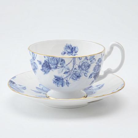 エリザベスローズ ブルー ティーカップ&ソーサー オーバン