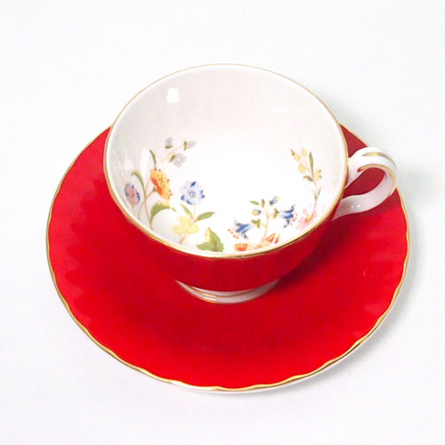 コテージガーデン ティーカップ&ソーサー オーバン レッド