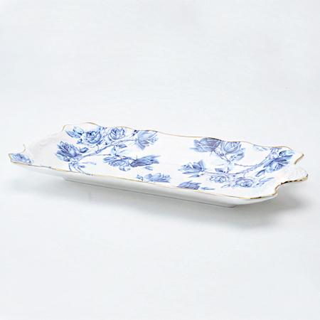 エリザベスローズ ブルー サンドイッチトレイ 【特別価格 6/25(金)13:00まで】