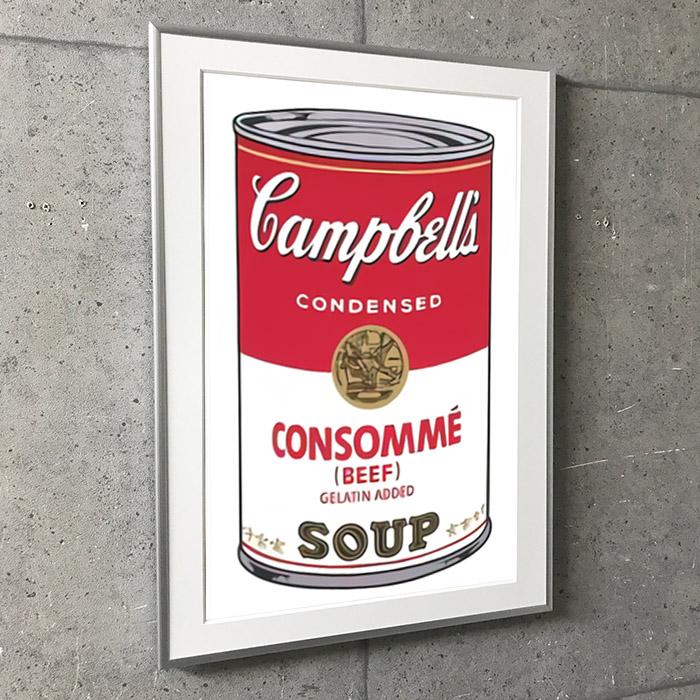 特別額装マット作品/アートポスター/Campbell Soup I Consomme 1968(アンディ ウォーホル)