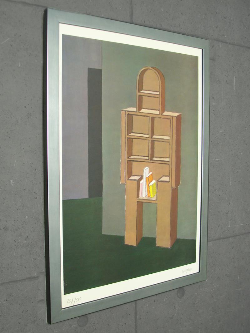 Raymond Savignac. Surreal Bookshelf Man French Modernism 1994年(237/500) ナンバー/手書きサイン入り カラビアフレームシルバー