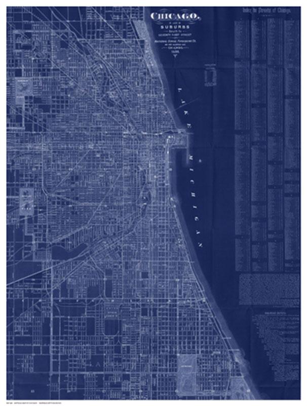 Antique Map of Chicago (blue)(作者不明)
