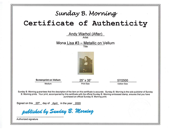 Sunday B Morning モナリザMetallic on Vellum  限定2500枚(アンディ ウォーホル)