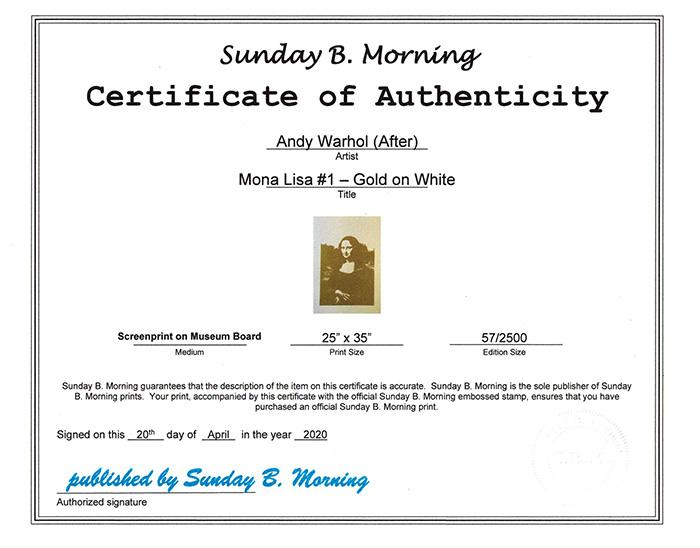 Sunday B Morning モナリザ Museun Board G&W 限定2500枚(アンディ ウォーホル)