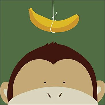 特別額装マット作品/ポスター/ユーコ ラウ/Peek-a-Boo Monkey(ユーコ ラウ)