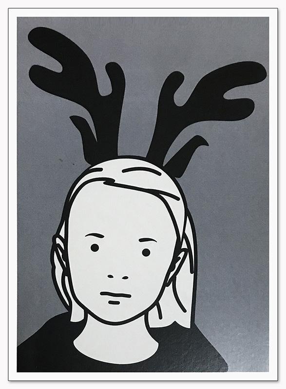 限定マット額装品/Julian Opie【Girl with reindeer antlers 1998】(ジュリアン・オピー)