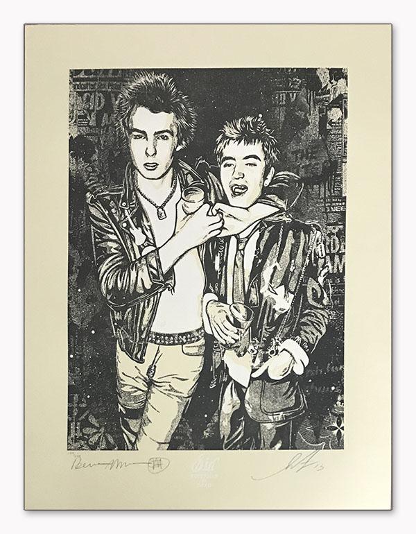 シド・ヴィシャス(Sid Vicious)Sid choking a friend 限定200枚 Shepard Fairey & Dennis Morris手書きナンバリング/サイン入り(オベイ)