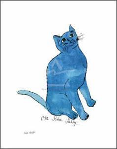特別額装マット作品/アートポスター/ウォーホル/Untitled (One Blue Pussy) c. 1954(アンディ ウォーホル)