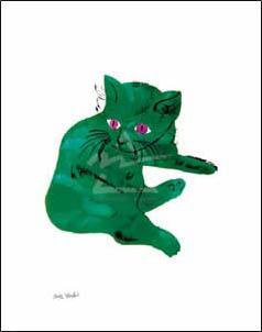 特別額装マット作品/アートポスター/ウォーホル/Untitled (Green Cat) c. 1956(アンディ ウォーホル)