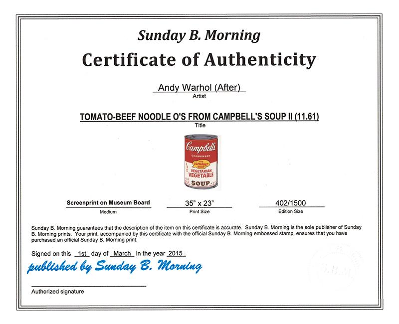 Sunday B Morning キャンベル缶 � Vegetarian Vegetable 限定1500枚(アンディ ウォーホル)