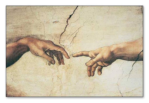 アダムの創造(detail)(ミケランジェロ ブオナローティ)