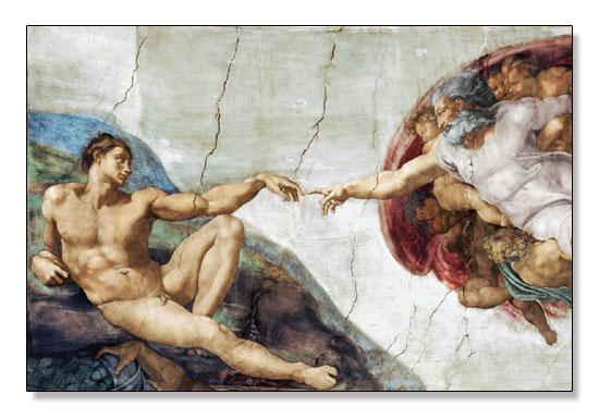 アダムの創造(ミケランジェロ ブオナローティ)