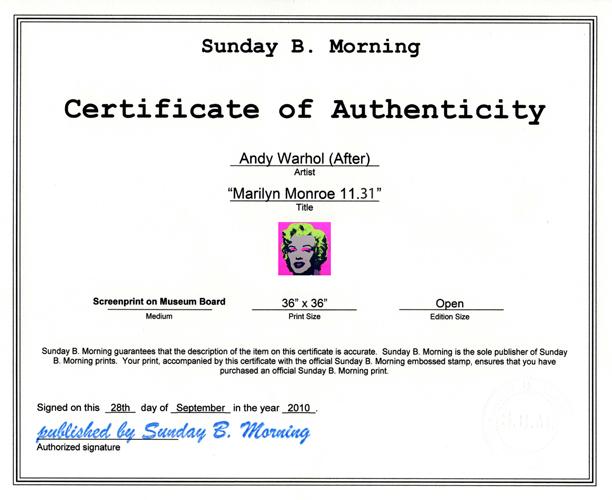Sunday B Morning  マリリンモンロー オープン・エディション 証明書付(アンディ ウォーホル)【f】