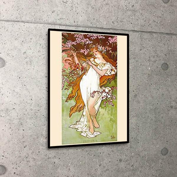 額装済30%OFF/四季「春」/アルフォンス ミュシャ/ポスター(アルフォンス ミュシャ)