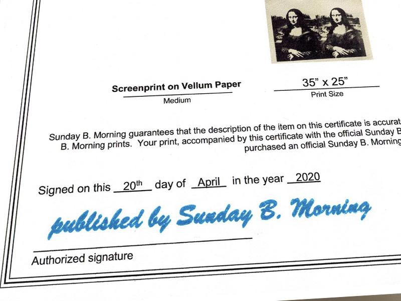 Sunday B Morning W モナリザ  限定2500枚(アンディ ウォーホル)