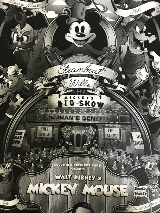 ミッキーマウス 蒸気船ウィリー 限定40枚 手書きナンバリング入り/ポスター(ディズニー)