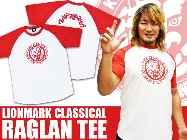 新日本プロレス NJPW ライオンマーク クラシック ラグランTシャツ(レッド)