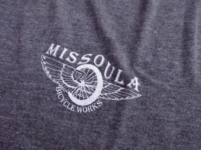 新品 モンタナ州 ミズーラにある 【MISSOULA BICYCLE WORKS】 老舗チャリ屋のロゴTシャツ ブラウンヘザー L tsg521