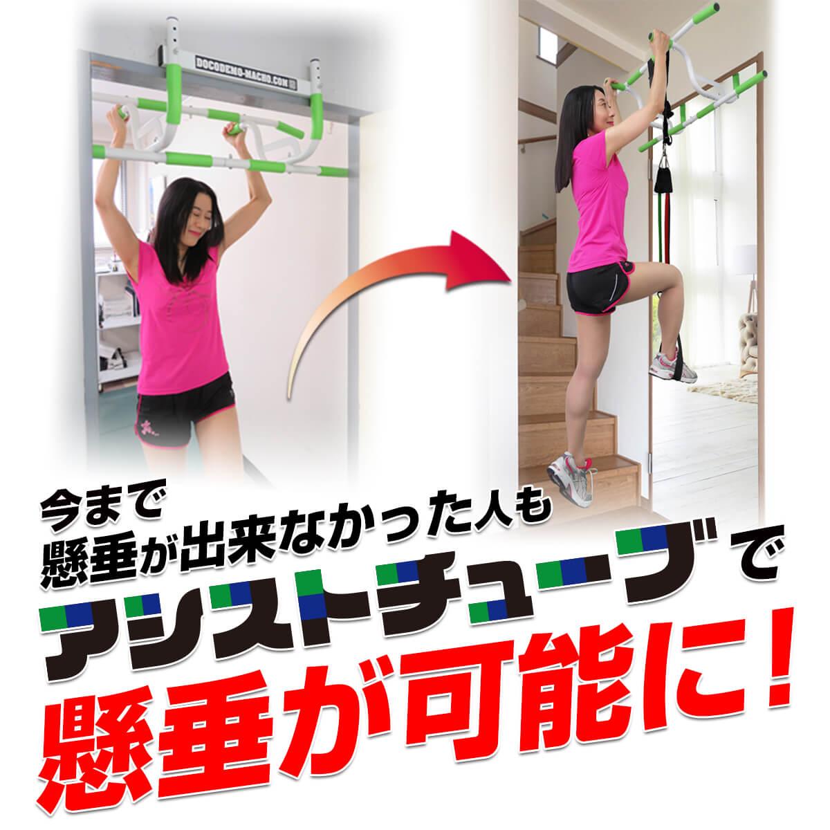 懸垂 自宅 ドア どこでもマッチョPROとアシストチューブのセット ぶら下がり健康器 マルチジム 腹筋 背筋