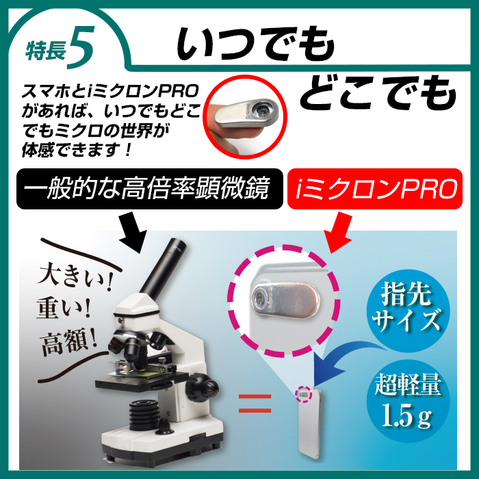 【生産完了品 新品 マイクロルーラー付】スマホ顕微鏡 自由研究 夏休み 宿題 iミクロンPRO 800倍 iPhone/iPad対応 電子顕微鏡 micron アイミクロン