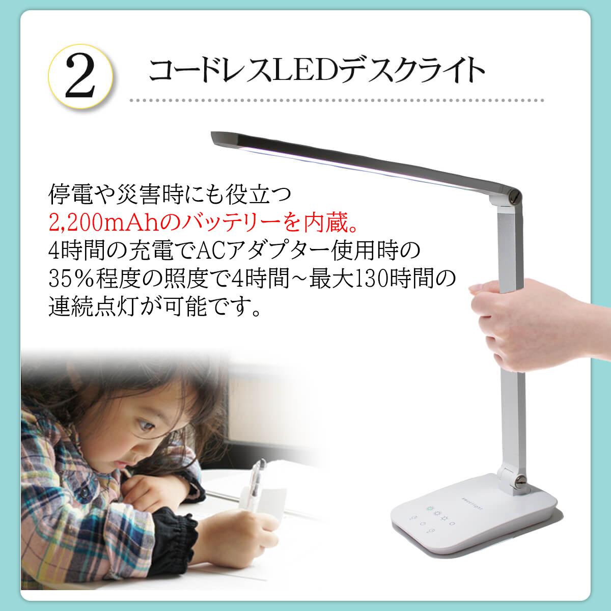 【2020年度版】 テレワーク コードレス LEDデスクライト スイートライト ポータブル� 充電式 LEDデスクスタンド 目にやさしい