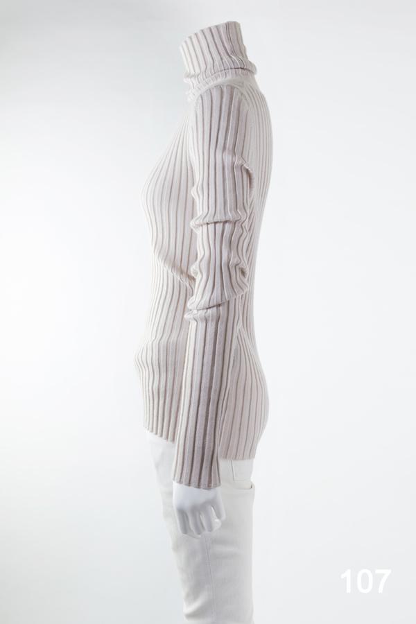 カシミヤリブタートルネック  シルバーピンク [CROCE CROSS] BARGA/107