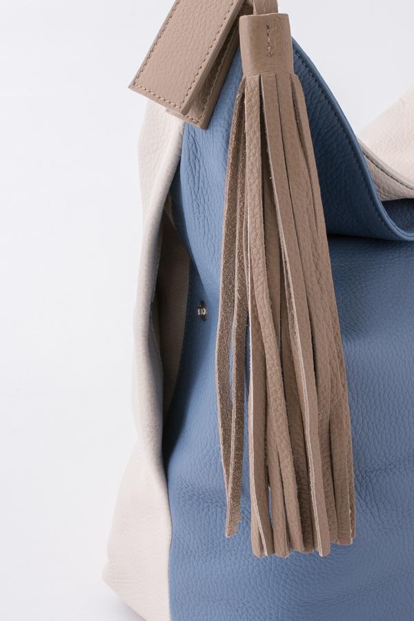 3COL配色ショルダーバック サックスブルー X アイボリー X クレイ [AL SOLITO] 17126/ALCE/BLUE FAIRY X LAMB