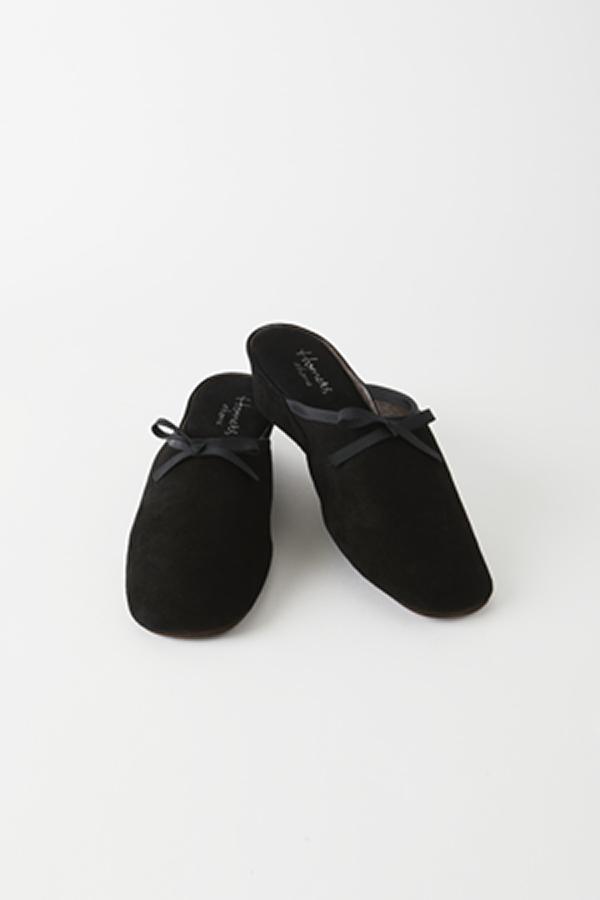 リボンヒール付き ルームシューズ  ブラック [Homers] 18032R/Ante/BLACK