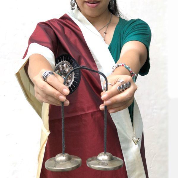 ブラックティンシャ【7メタル】【吉祥八文様】【サンタ・ラトナ・シャキア工房】/チベット仏教神具