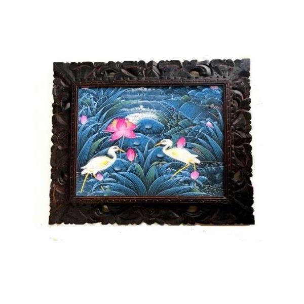 バリ絵画 プンゴセカン 『蓮の花とサギ』 額付き