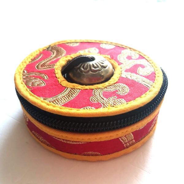 ティンシャケース 布製ソフトケース【レッド×イエロー】/ネパール神具/ティンシャ