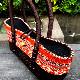 かごバッグ/籐バッグ /ラタンピール(籐皮)バッグ/民族布&ラタンピールのコンビ【ダークオレンジ】
