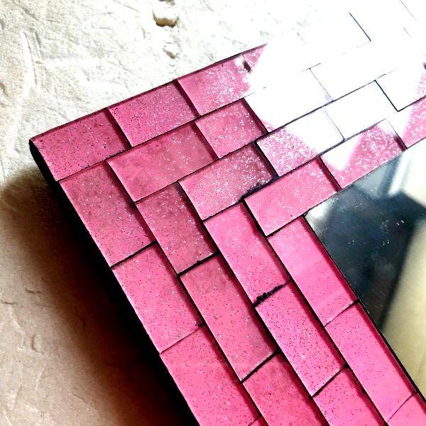 モザイクミラー/ スクエアミラー/ガラスモザイクのミラー・鏡【ピンク】