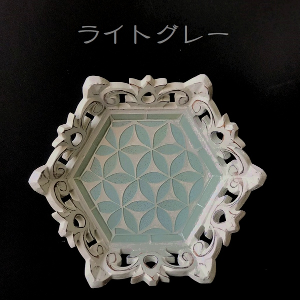 【新色入荷】モザイクガラスのトレイ【ヘキサゴン・六角形】モザイク/キラキラのラメ入りガラストレイ