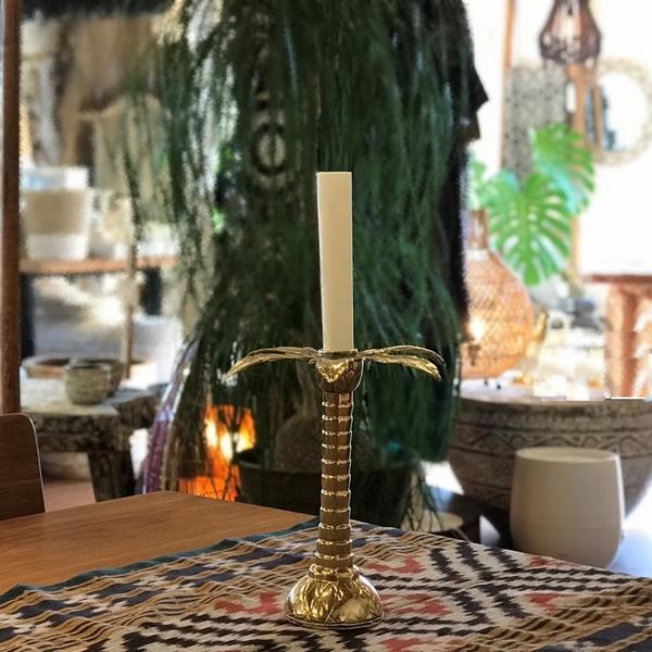 ヤシの木のキャンドルホルダー/真鍮オブジェ/ブラス 燭台