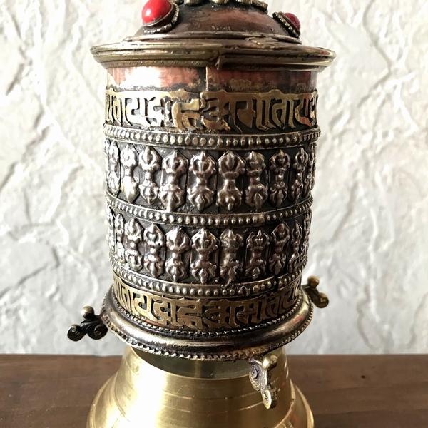 マニ車【ドルジェ・バジュラ・金剛杵】チベット密教/チベット密教法具/ネパール雑貨